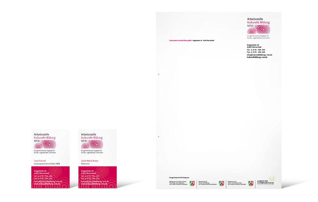 Arbeitsstelle kulturelle Bildung NRW | Geschäftsausstattung